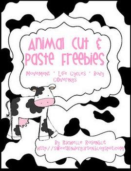 """FREE"" Animal Cut & Paste Activities"
