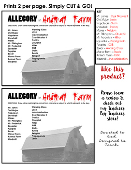 FREE Animal Farm Allegory Match Up Sheet. PRINT & GO!