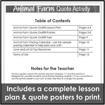 Free Animal Farm Activity for a Quote Graffiti and Editable Unit Calendar