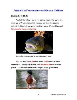 *FREE* Animals in Freshwater/Ocean Habitats (Reading Informational Text)