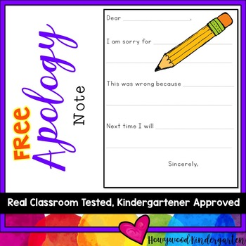 FREE Apology Note..  Help manage conflict, teach responsibility, kindness & more