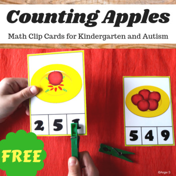 FREE Apple Count Clip Cards