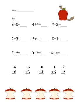 FREE Apple Math Worksheet