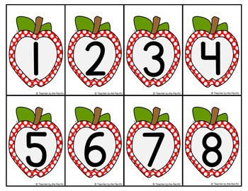 FREE APPLE Math Number Cards for Sequencing, Matching, Memory, Comparing