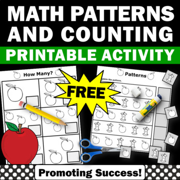 FREE Apples Math Counting Worksheet Preschool Kindergarten