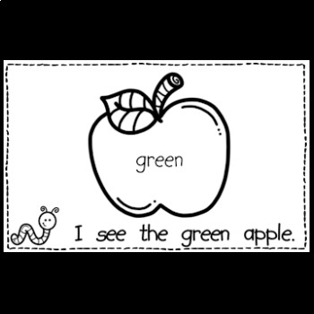 FREE Apples Reader and Color Words Page