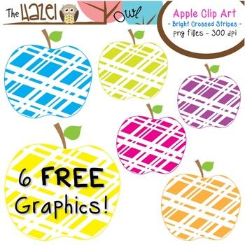 FREE Apples Set: Clip Art Graphics for Teachers {Bright Crossed Stripes}