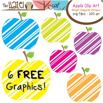 FREE Apples Set: Clip Art Graphics for Teachers {Bright Diagonal Stripes}