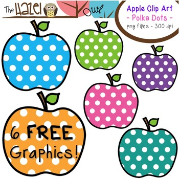 FREE Apples Set: Clip Art Graphics for Teachers {Polka Dots}