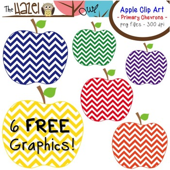 FREE Apples Set: Clip Art Graphics for Teachers {Primary Chevrons}