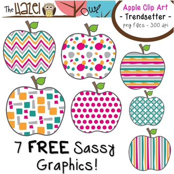 FREE Apples Set: Clip Art Graphics for Teachers {Trendsetter Prints}
