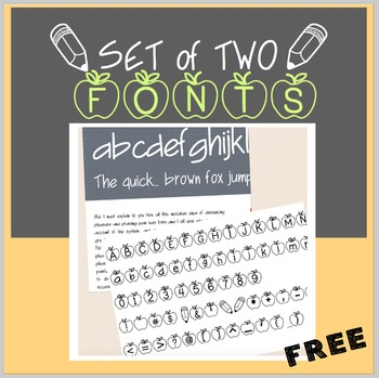 FREE Apples & Upward Swing Handwriting Font-personal classroom use
