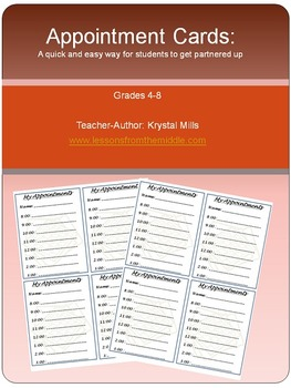 FREE Appointment Cards (Simple Way For Students to Partner Up)