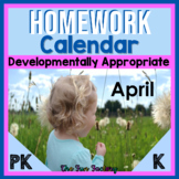 FREE April Homework Calendars   EDITABLE   Developmentally