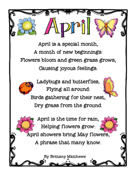 FREE April Poem and Cloze reading Worksheet