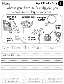 FREE April Writing Prompts for Kindergarten to Second Grade