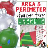 FREE Area and Perimeter Holiday Trees Craft Grades 4-6 Christmas FREEBIE