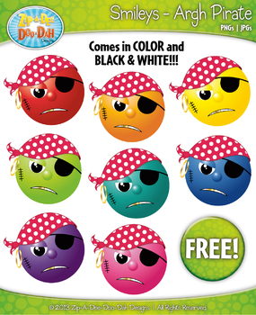 FREE Argh Pirates Smiley Faces Emotions Clip Art Graphics