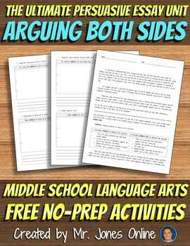FREE Arguing Both Sides: Persuasive Essay Pros & Cons Activity