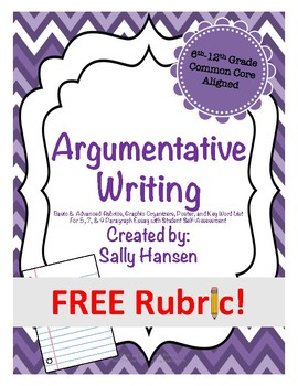 Argumentative Writing Basic Rubric CCSS Aligned for Grades 6th-12th FREEBIE!