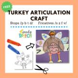 FREE Articulation Turkey Craft For /B, P, S, Z, T, D, F, V