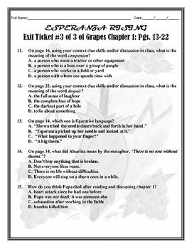 CHAPTER 1 Assessment Lesson for My Esperanza Rising Assessment/Reading Unit