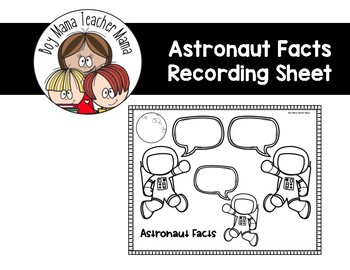 FREE Astronaut Facts Recording Sheet