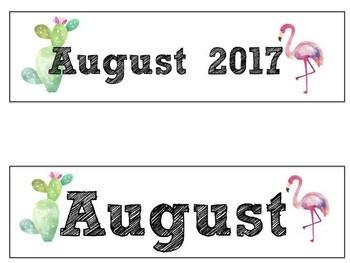 FREE August Calendar Set-Flamingo and Cactus Themed