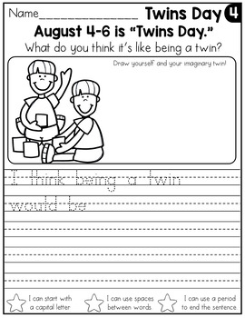 FREE August Writing Prompts for Kindergarten to Second Grade