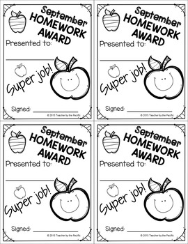FREE August and September Homework Awards