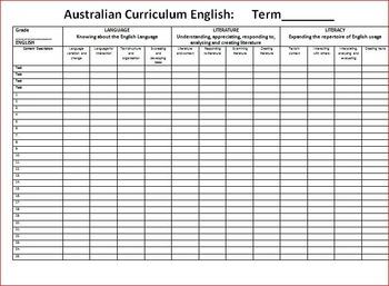 FREE Australian Curriculum ENGLISH Marking Grid Grade 7 - 10