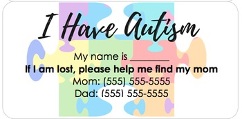 FREE Autism Identification Sticker (Editable)