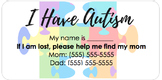 {FREE} Autism Identification Sticker (Editable)