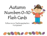 FREE Autumn Numbers 0-10 Flash Cards