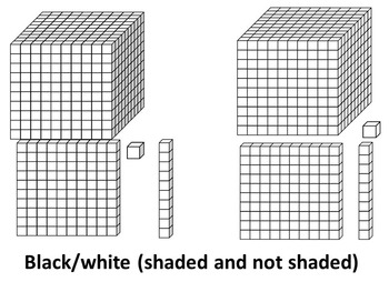BASE TEN BLOCKS- FLATS AND RODS CLIP ART-COMMERCIAL USE