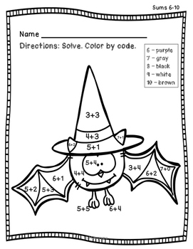 FREE Addition Color by Number - Halloween Theme
