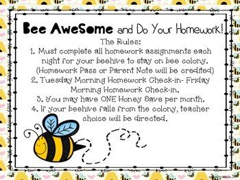 BEE AWESOME HOMEWORK BOARD