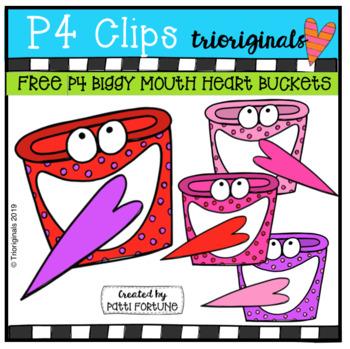 FREE BIGGY MOUTH Heart Bucket (P4 Clip Trioriginals) VALENTINE CLIPART