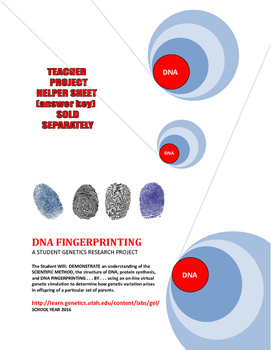 SALE  $8.50  DNA FINGERPRINTING -  RESEARCH PROJECT