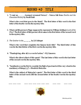 FREE BIRD Thanksgiving Literary Trivia Game for Middle School & High School ELA