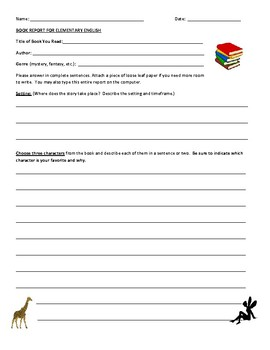 FREE BOOK REPORT template -- Elementary Grades