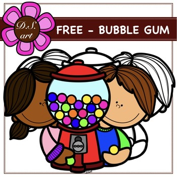FREE BUBBLE GUM Digital Clipart (color and black&white)