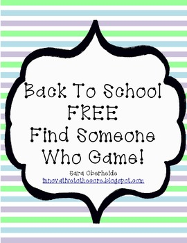 FREE - Back To School - Find Someone Who Game...