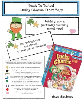 FREE Back To School Lucky Charms Treat Bag Tags & Note