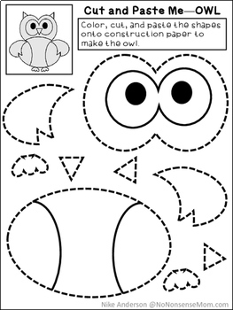 free cut paste activities for preschool and early elementary tpt. Black Bedroom Furniture Sets. Home Design Ideas