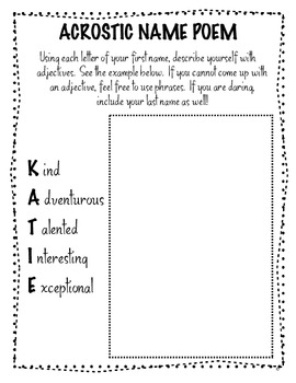 FREE Back to School Acrostic Name Poem