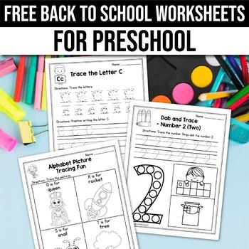 FREE Back to School Activities For Kindergarten (Math & Literacy No Prep)