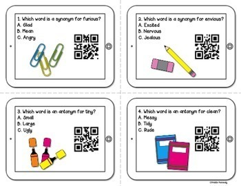 FREE QR Code Task Cards: ELA Mixed Review