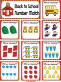 FREE Back to School English Number Match