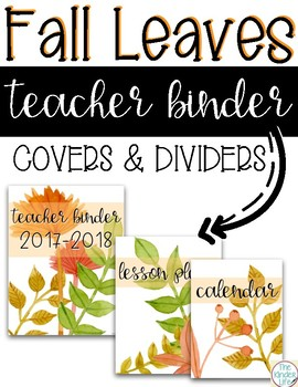 FREE Back to School Fall Leaves Teacher Binder Covers and Dividers
